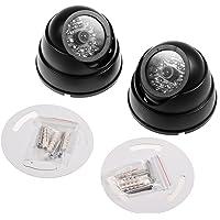 JZK® 2 X Cámaras de Simulada Maniquí Falsa de vigilancia CCTV Dome con LED Parpadeante imitación Real para la Seguridad…