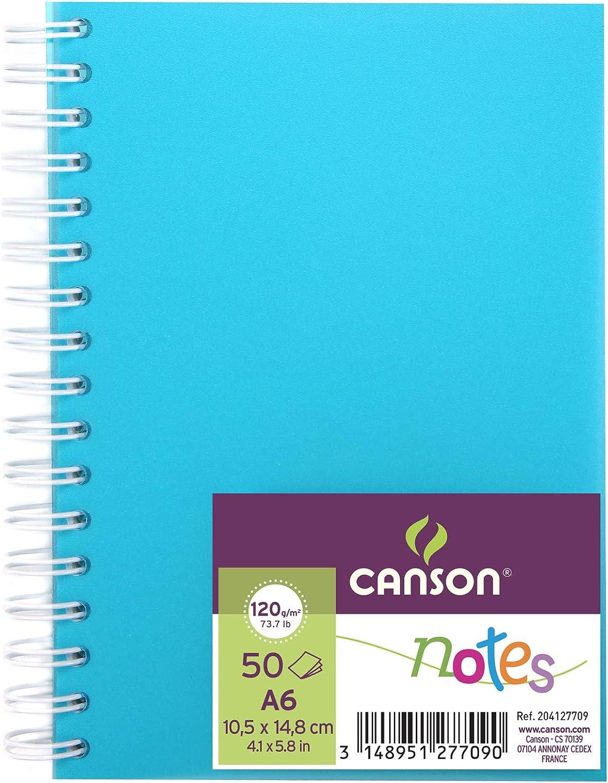 violet spiral/é couverture polypro Carnet de 50 feuilles notes et dessin format A6-120g Canson
