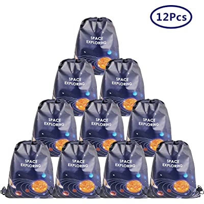 Cieovo 12 Pack Outer Space Party Favor Goodie Bags, Treat Gift Drawstring Bag Solar System Backpack Birthday Party Decoration Supplies for Baby Shower Planet Outer Space Theme Birthday Party Supplies: Toys & Games