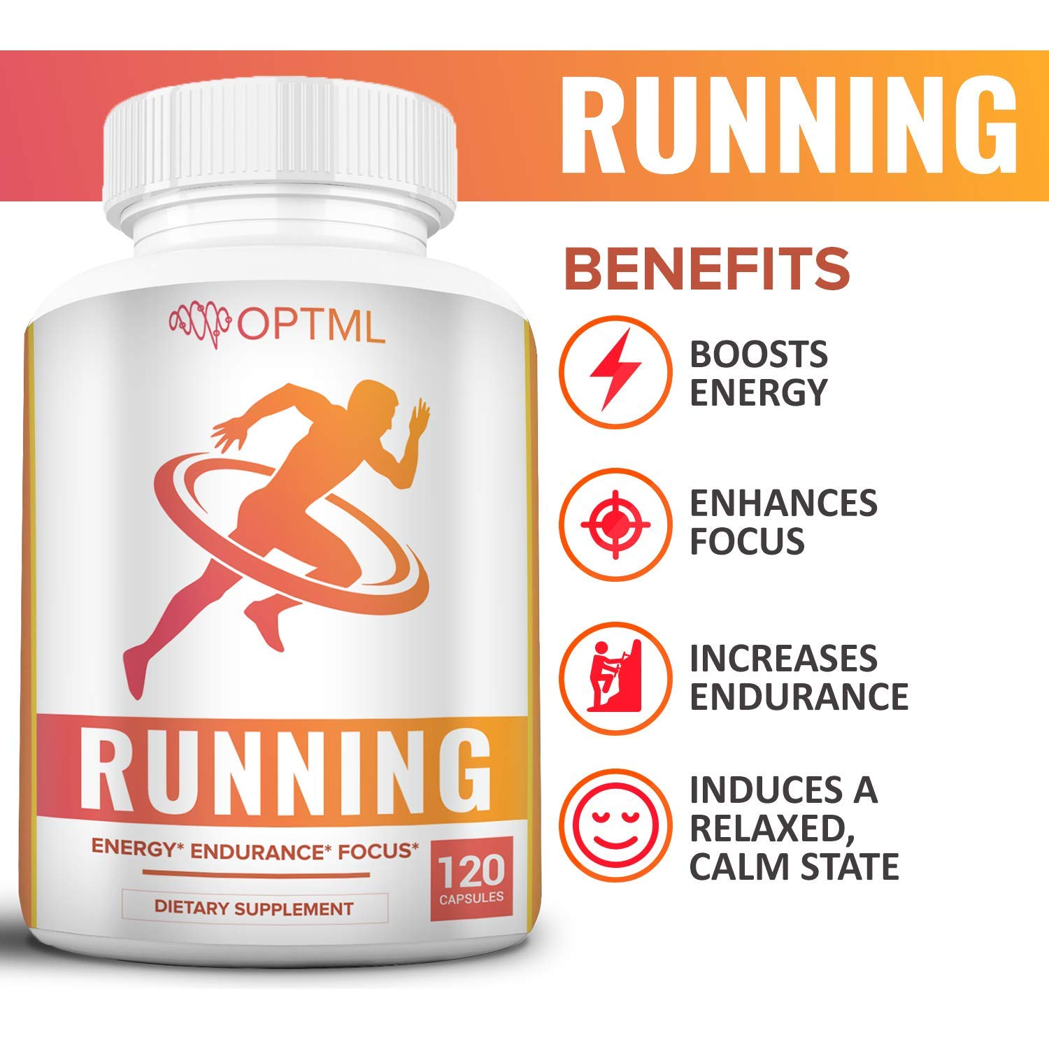 OPTML Running Performance Supplement Boosts Energy Increased Endurance Enhanced Focus Reduced Stress Run Longer and Faster 120 Capsules