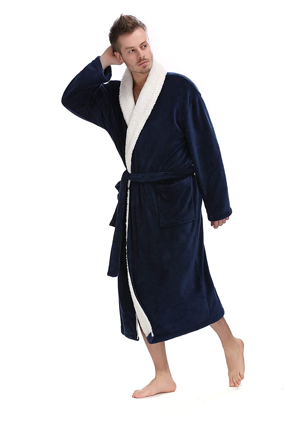 Mens Robe - Sherpa Kimono Shawl Collar Bathrobe Comfy Spa Bath Robe S-XL