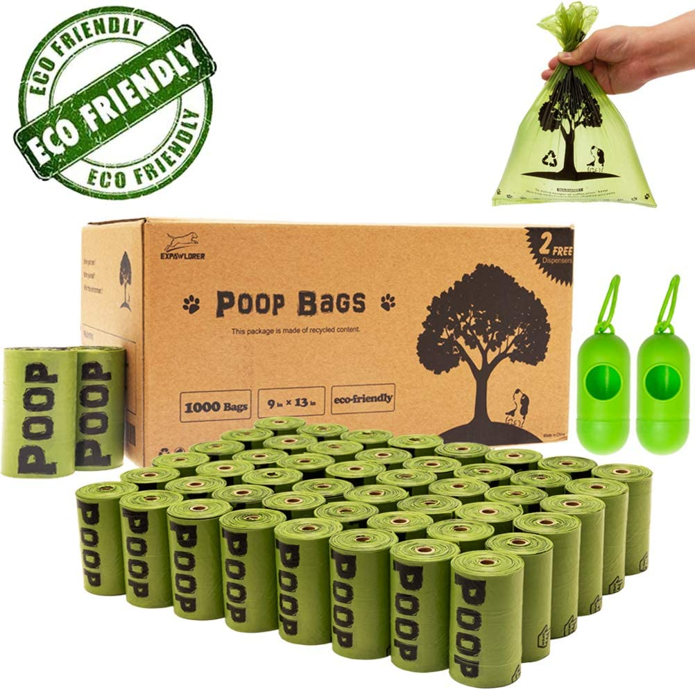 Biodegradable Dog Poop Bags - 1000 Counts with 2 Dispenser, Earth-Friendly Doggie Poop Bag Leak-Proof, Dog Waste Bags 50 Rolls Green Tree Printed, 9x13 inches