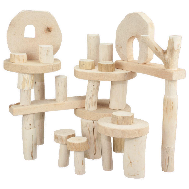Decor-Spielzeug  Eco Blocks  ohne Rinde - 36 Stück im praktischen bunten Baumwollsack - 100% Natur - Holzspielzeug Bausteine B00FOTB2ZY Bau- & Konstruktionsspielzeug Fairer Preis | Attraktiv Und Langlebig