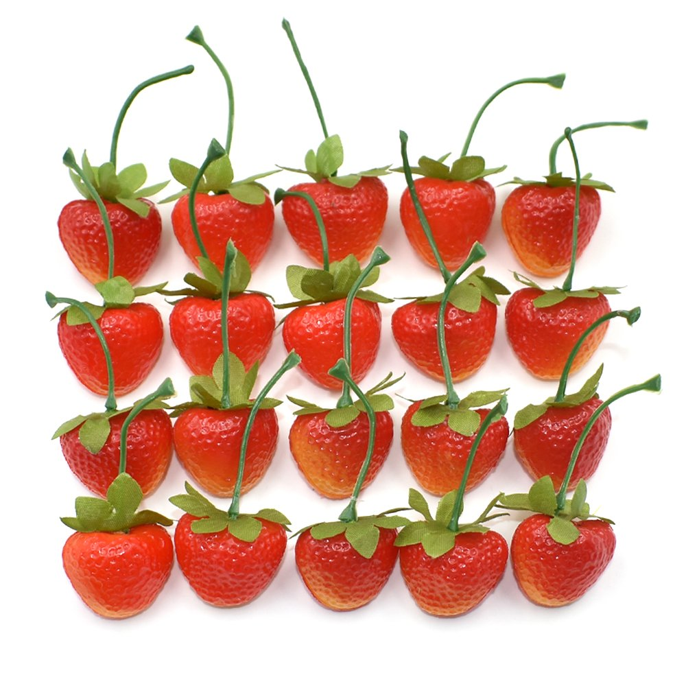 dlucraft artificial fruit strawberry simulation lifelike fake for home party kitchen decoration painting teaching aids 35pcs - Strawberry Kitchen Decoration