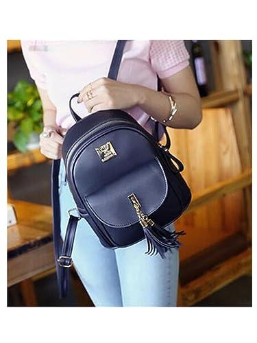 84da674b7f36 Amazon.com  Melissa Wilde Preppy Style Small Women Backpacks Pu Leather  Shoulder Bag Fashion Tassel Backpacks Teenag Girls Mini Female Backpack  Black 14 ...