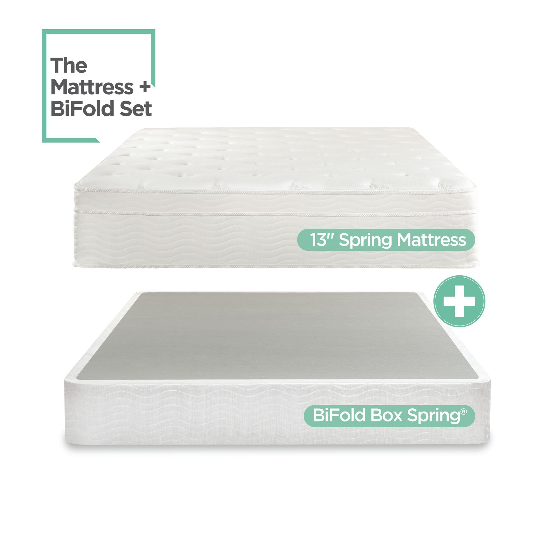 Night Therapy Spring 13 Inch Deluxe Euro Box Top Mattress and BiFold Box Spring Set, Full by Zinus