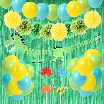 BOENFU Kit De Decoraciones De Fiesta De Cumpleaños De Dinosaurio con Estandarte De Dinosaurio, Flores De Pompón, Cortinas De Fiesta, Adorno De Pastel ...