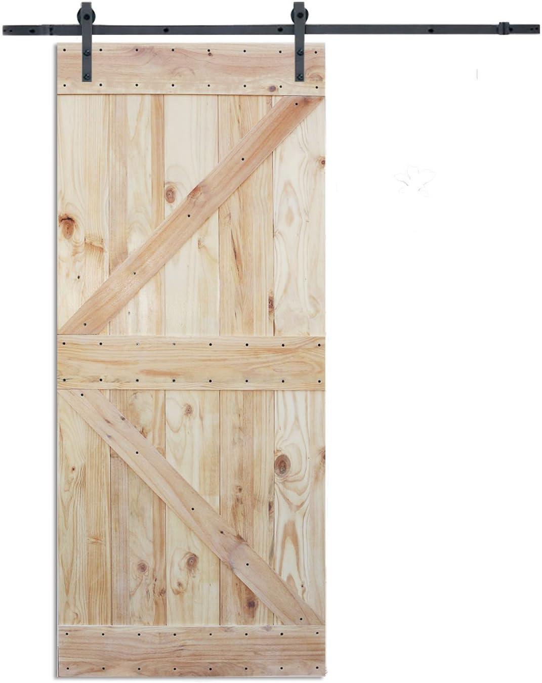 6 ft Puerta Corredera hardware set con dos K diseño placa de madera color pino interior puerta de granero: Amazon.es: Bricolaje y herramientas