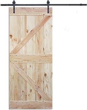 6 ft Puerta Corredera hardware set con dos K diseño placa de madera color pino interior puerta de granero: Amazon.es ...