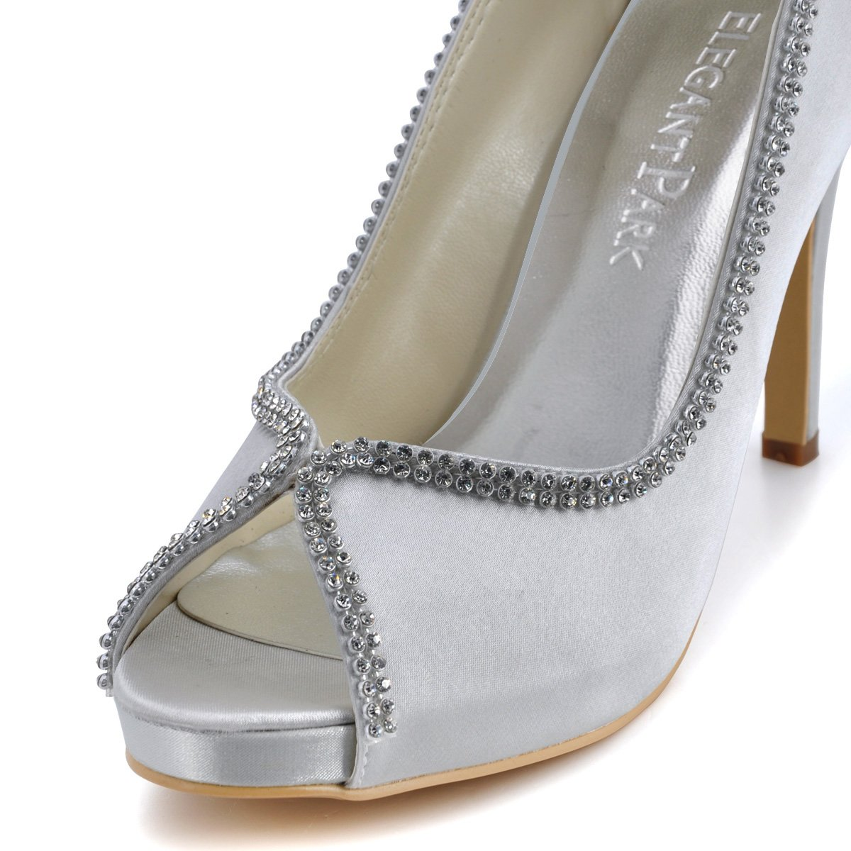 ElegantPark EP11083 Rhinestones Women Pumps Peep Toe Rhinestones EP11083 Platform High Heel Satin Evening Wedding Dress Shoes B00ARD1YC8 7 B(M) US|Silver 0bed92
