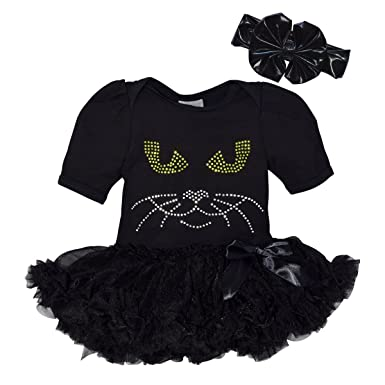 a091e3c29 Amazon.com  Unique Baby Girls Halloween Black Cat Bodysuit with Tutu ...