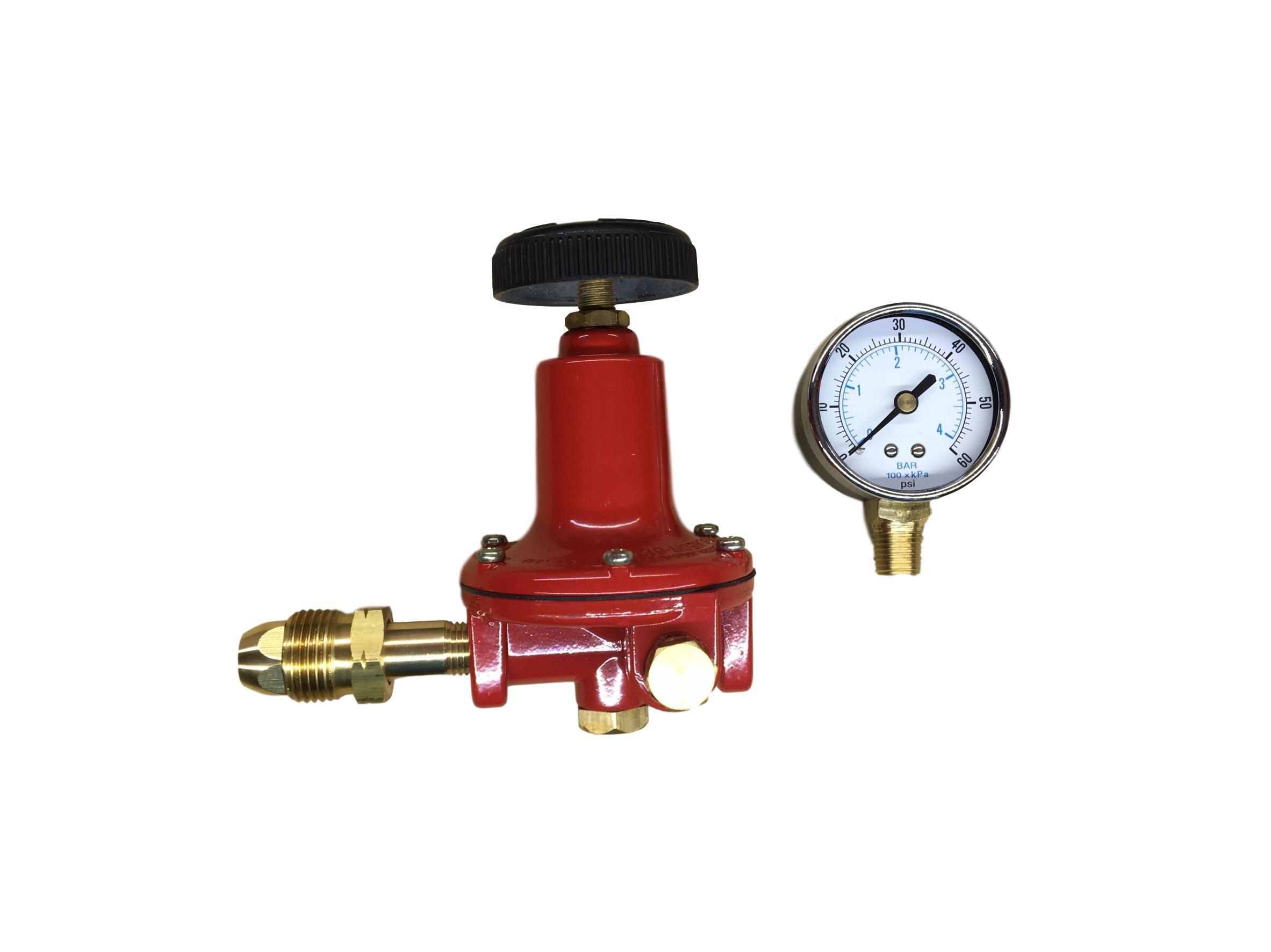Propane LP Gas Adjustable 0-60psi High Pressure Regulator POL Connector and Gauge Marshall Excelsior