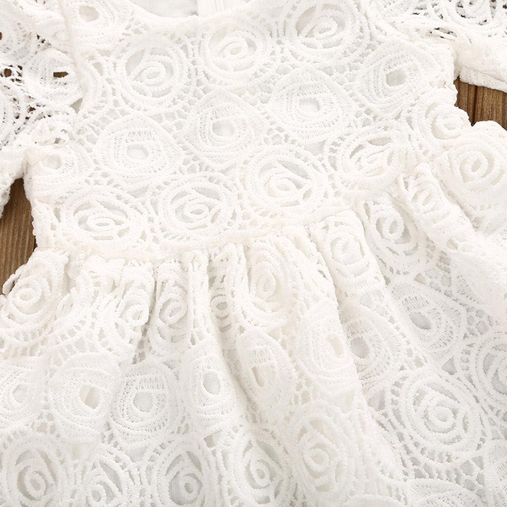 70, Wei/ß Babykleidung URSING Baby M/ädchen Blumen Spitzenkleid Kurzarm Prinzessin Kleid Formal Kleider Sundress Outfits Sommerkleider Babymode Blumenm/ädchenkleid Partykleid Mini Kleid