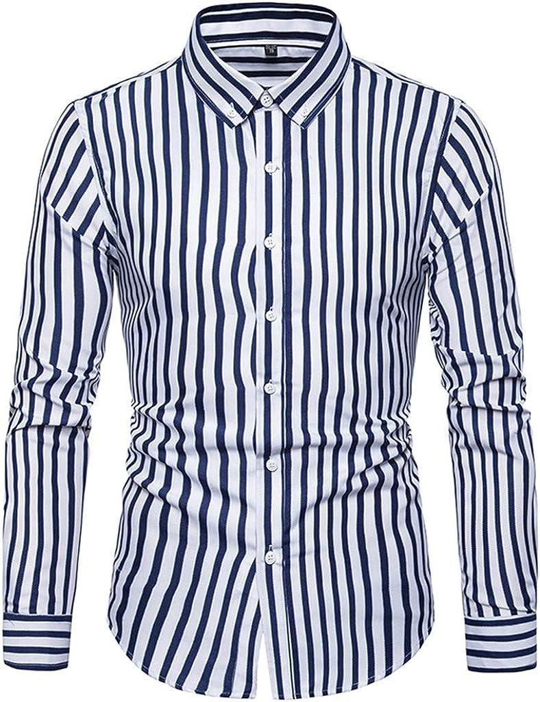 Mimihuhu Nueva Camisa a Rayas de Moda Hombres Mangas Largas ...