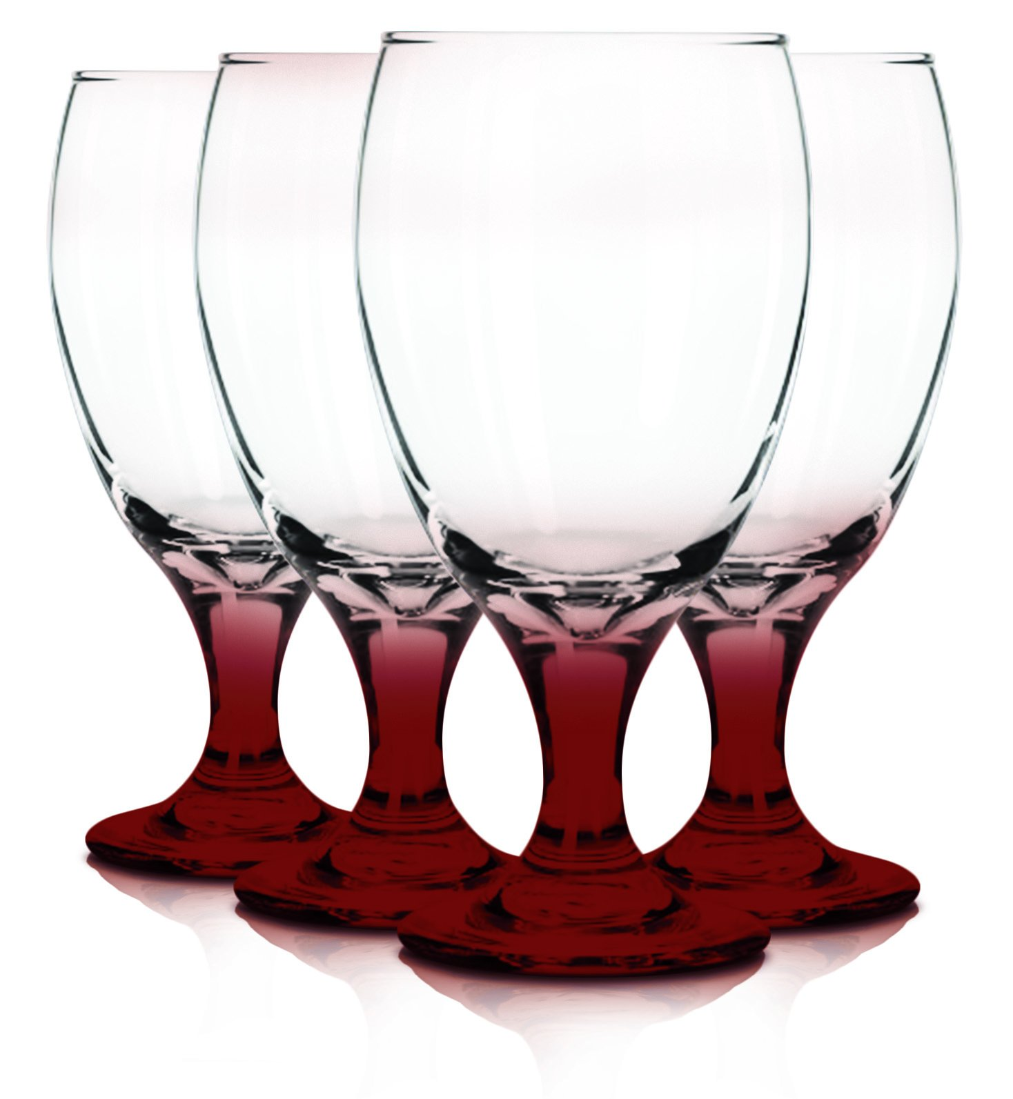 Libbey 6 Piece Goblet Party Glass, 16.25-Ounce Additional Vibrant Colors Available by TableTop King (Bottom Red)