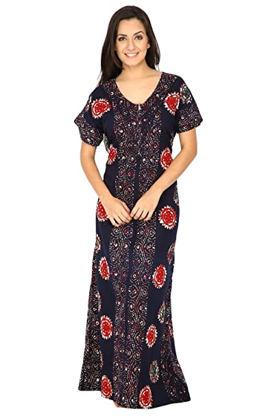 85416594c4 Secret Wish Women's Navy Blue Printed Cotton Nighty ( Free Size ):  Amazon.in: Clothing & Accessories
