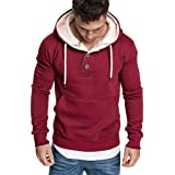 Men Hoodies Solid Long Sleeve Button Casual Sweatshirts Fitness Sport Outwear with Pocket