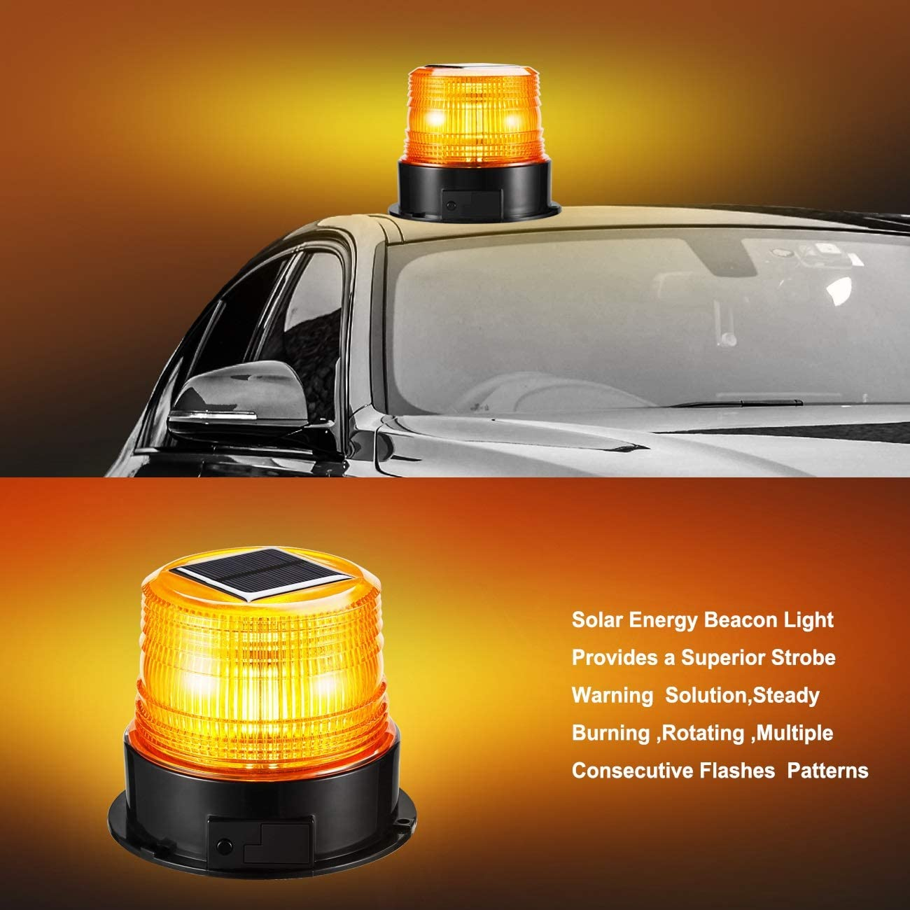 Solar LED Strobe Light Wireless Waterproof Flashing Red Beacon Lights with Magnet Portable,Rotating Warning Lights for Vehicles Tow Trucks School Bus