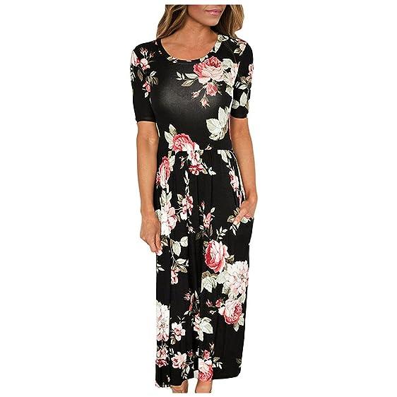 Eloise Isabel Fashion long dress mulheres bolso casual design de manga curta o pescoço vestidos das