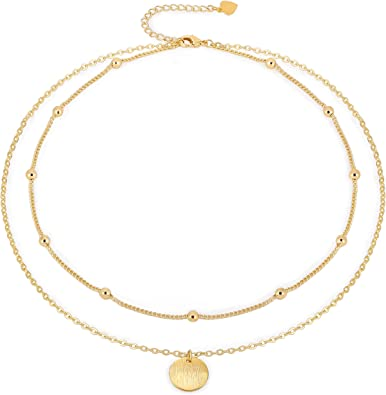 18K gold plated name choker necklace gold ball chain choker,layered chain choker,initial chain choker gold coin chain choker,dainty choker