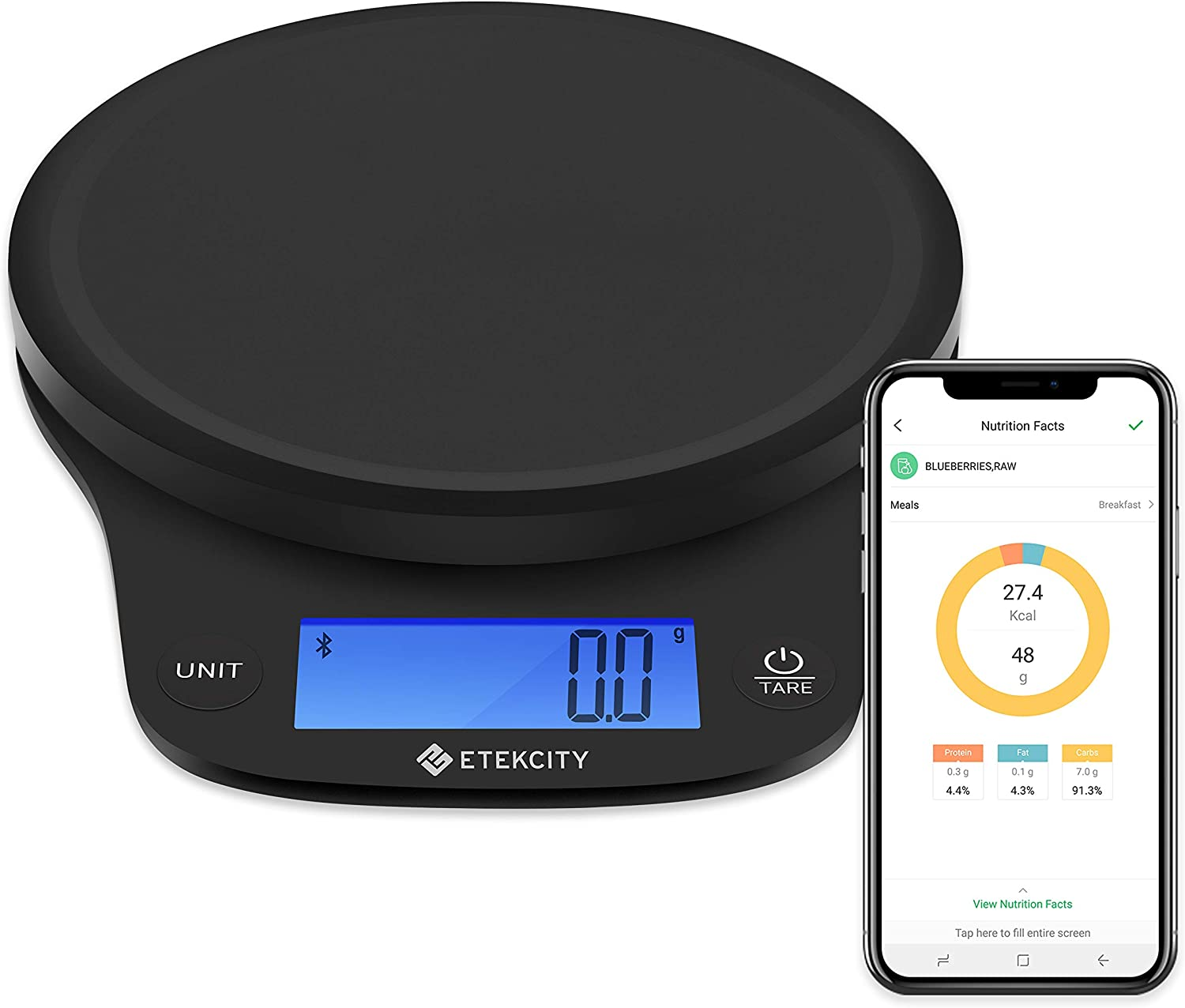Etekcity Food Scale, Digital Kitchen Weight Grams and Ounces for Baking and Cooking, Large/0.1g Smart Nutrition, Black Plastic