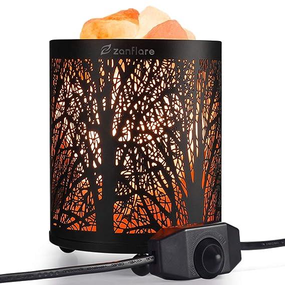 Lámpara de sal del Himalaya natural de Zanflare, luz nocturna, lámpara creativa con botón de configuración de intensidad. Saludable para su cuerpo, regalo de cumpleaños. [Clase de eficiencia energética A+]