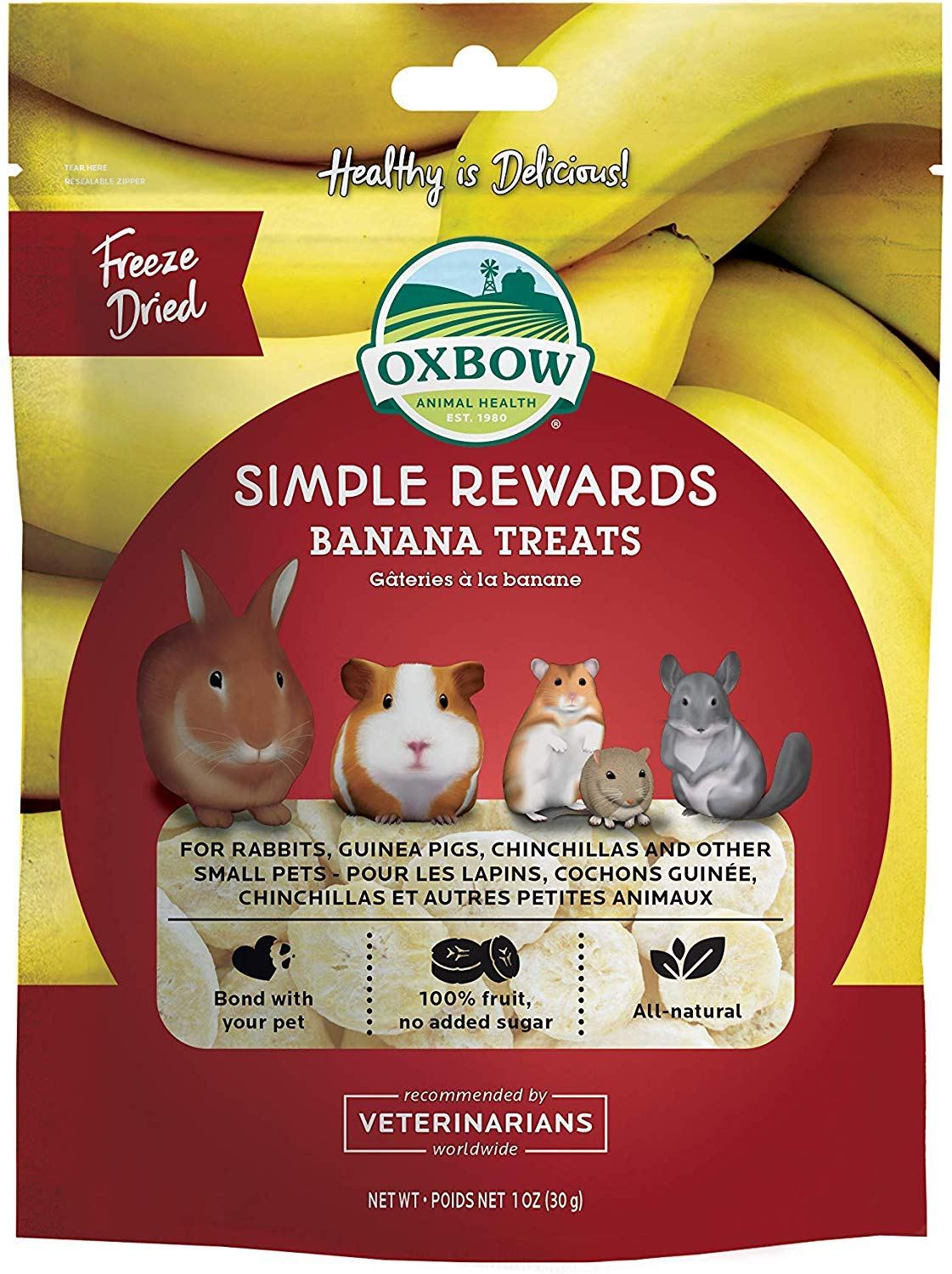 Oxbow Pack of Twelve Simple Rewards Treats - Rabbits Guinea Pigs Chinchillas Banana 1 oz by Oxbow