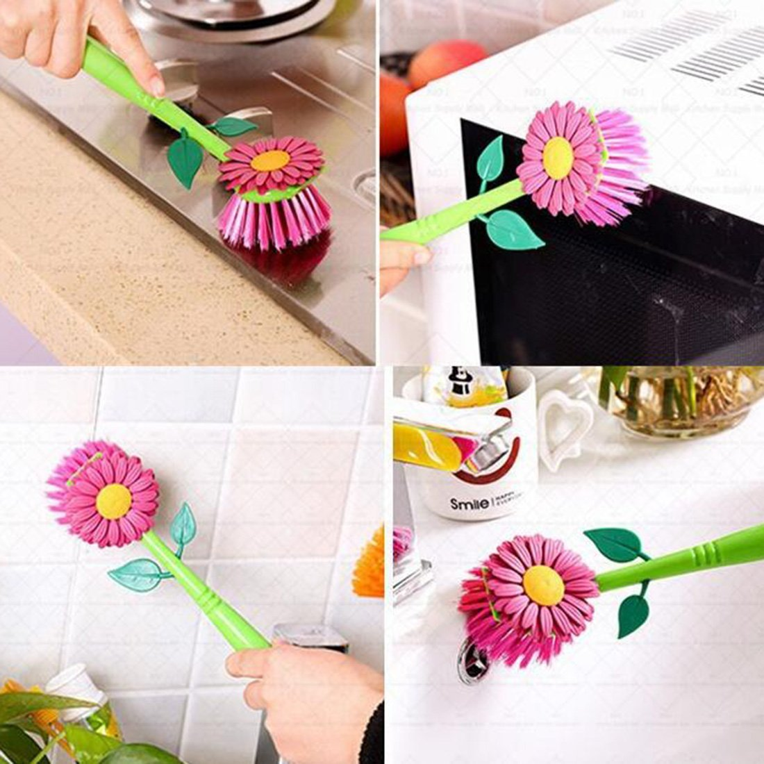 amazoncom flower kitchen sun cleaning brush pan pot brush 1pcs multi bathroom plastic brush cleaning tool random color home kitchen - Multi Bathroom 2016