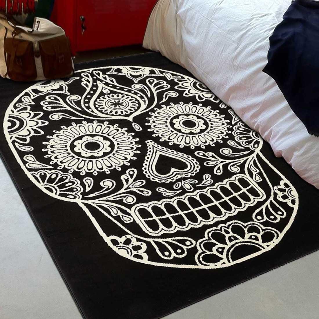 tapis enfant 4275 /écru 60 x 110 cm tapis pour la chambre bc mexican skull noir UN AMOUR DE TAPIS