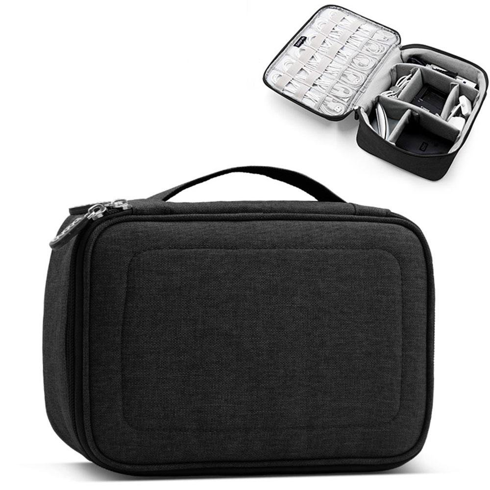 Pawaca Universal Cable Organizer Bag for Travel and Houseware Storage,Small Electronics Accessories Cases for Various USB, Phone, Charger and Cable, Black/Gray