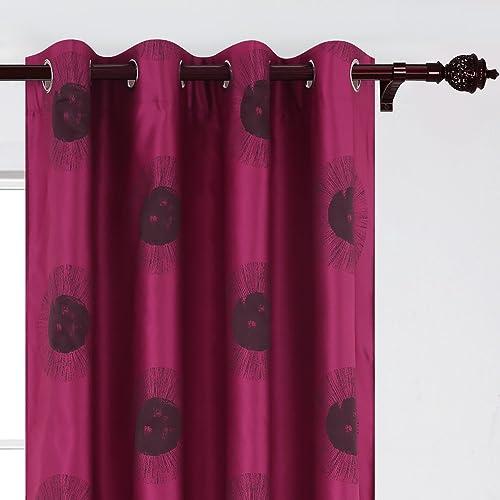 Deconovo Window Luxury Grommet Jacquard Darkening Curtains for Living Room, 52X84Inch, Rose