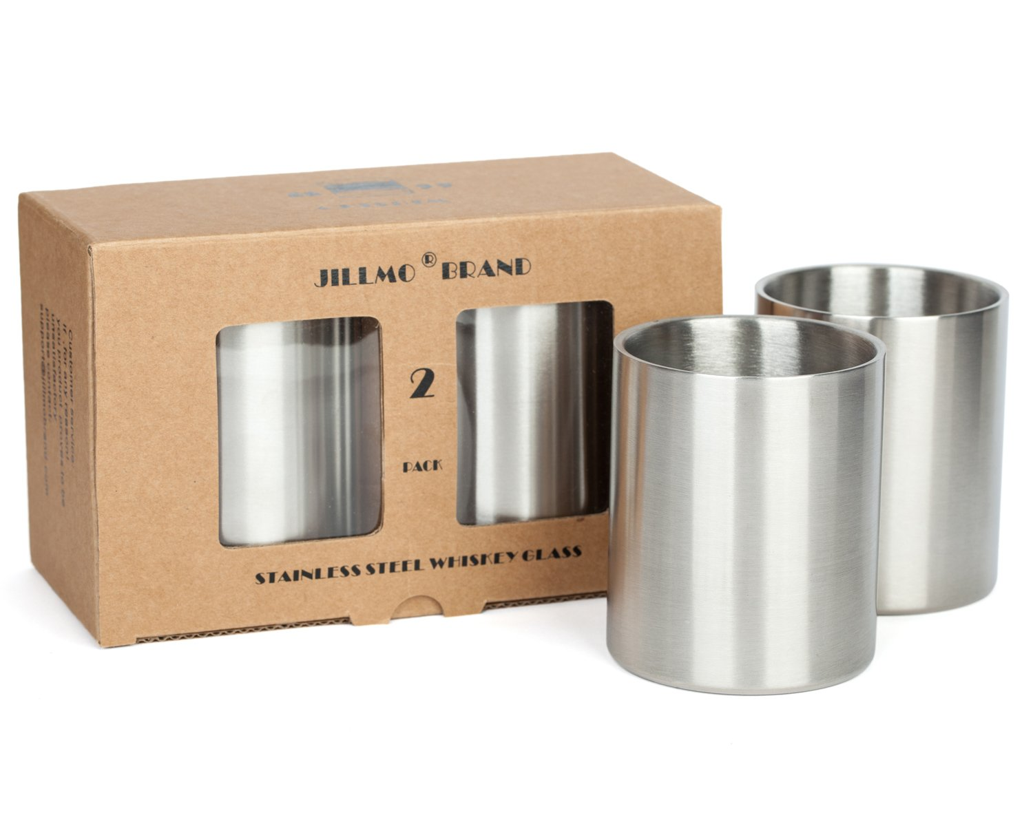 Stainless Steel Whiskey Glasses- Set of 2 -10oz Double Walled Unbreakable Lowball Insulated Bourbon Glasses