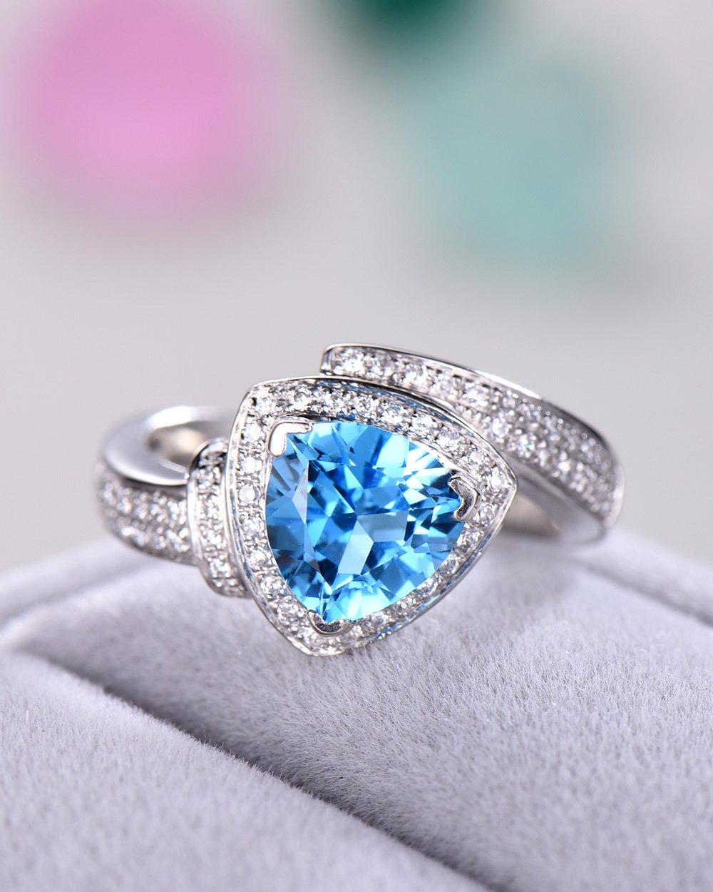 Blue Topaz Wedding Ring Trillion Cut 925 Sterling Silver White Gold CZ Diamond Halo Unique Engagement Set by Milejewel Topaz Engagement Ring (Image #3)