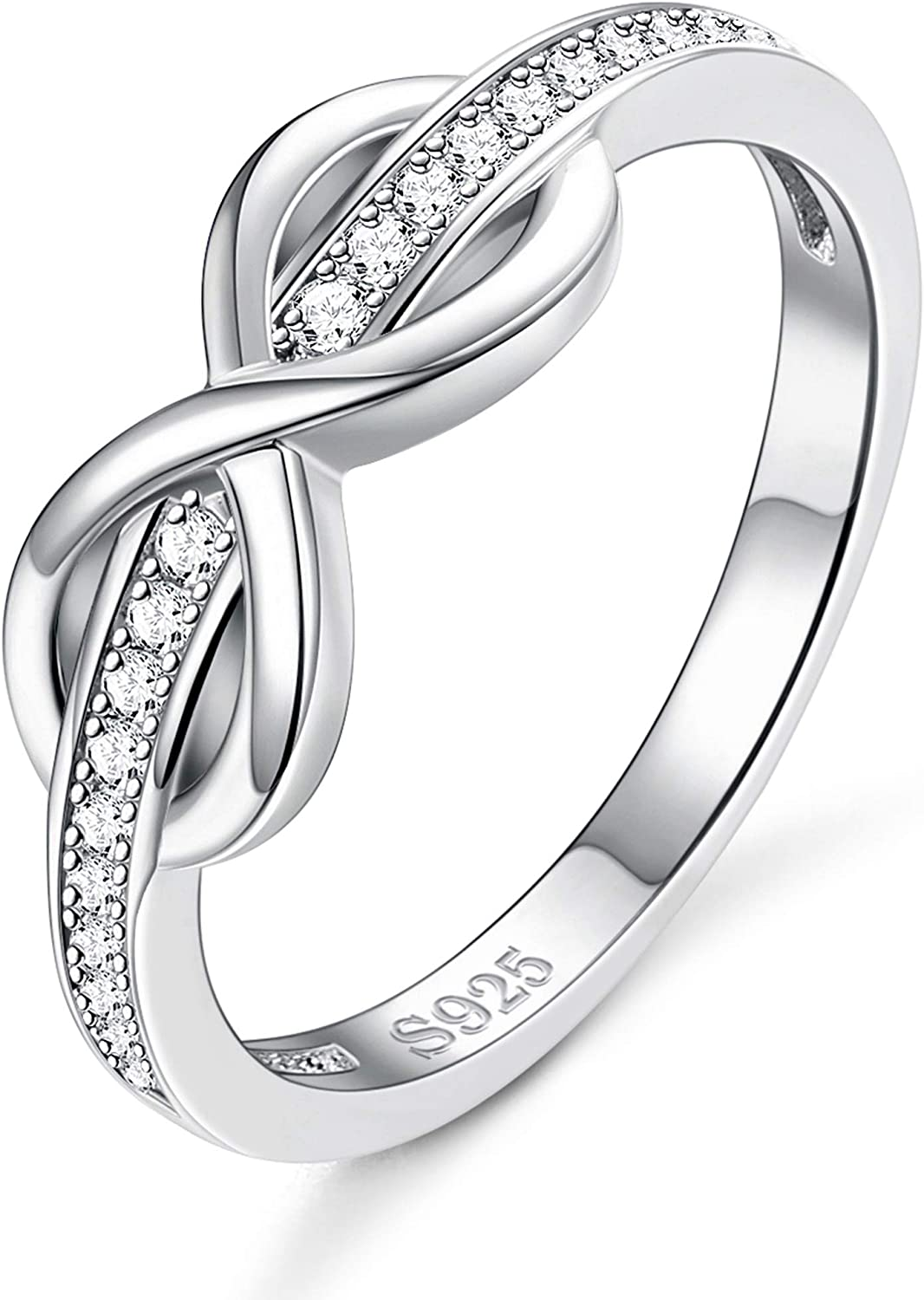 SEMAID Women 925 Sterling Silver Ring Eternity Infinity Symbol Size 6 7 8 9 10