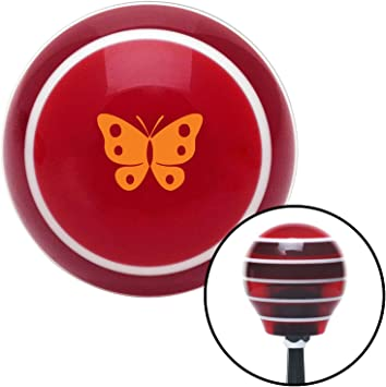 Orange Classic Butterfly Red Stripe with M16 x 1.5 Insert American Shifter 273581 Shift Knob