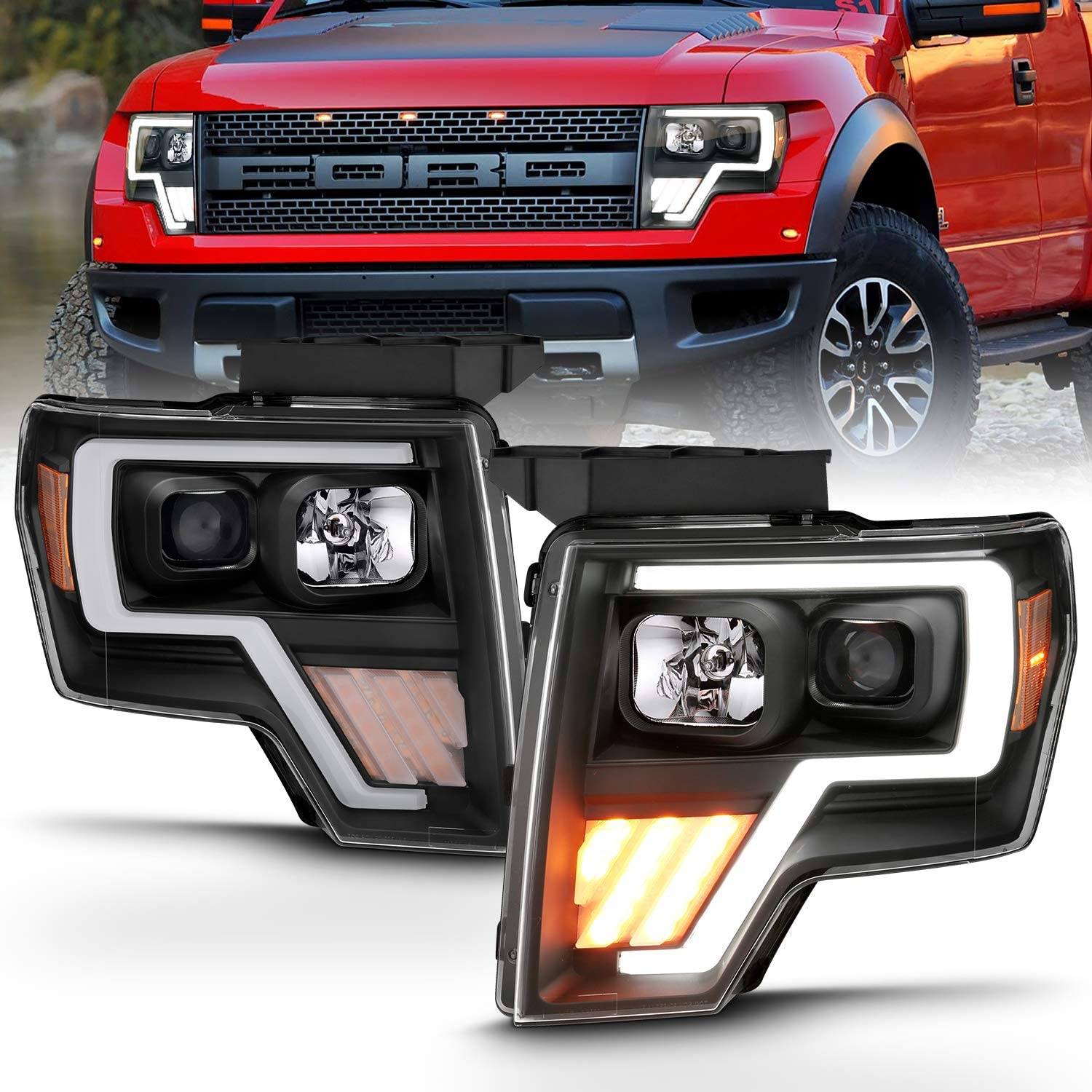 For Black 2009-2014 Ford F150 F-150 LED Projector Headlights Left+Right