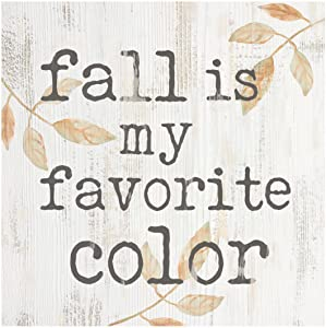 P. Graham Dunn Fall is Favorite Color Leaves Whitewash 3.5 x 3.5 Inch Pine Wood Tabletop Block Sign