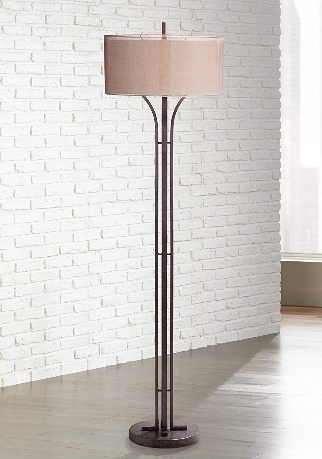 Tristan Modern Floor Lamp Bronze Metal Sheer Brown and Textured Linen Double Drum Shades for Living Room Reading – Franklin Iron Works