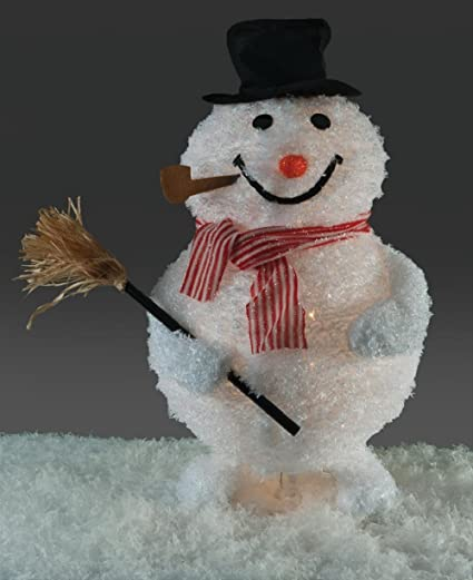 christmas 30 tinsel snowman holding broom with top hat pipe holiday decoration - Christmas Broom Decoration