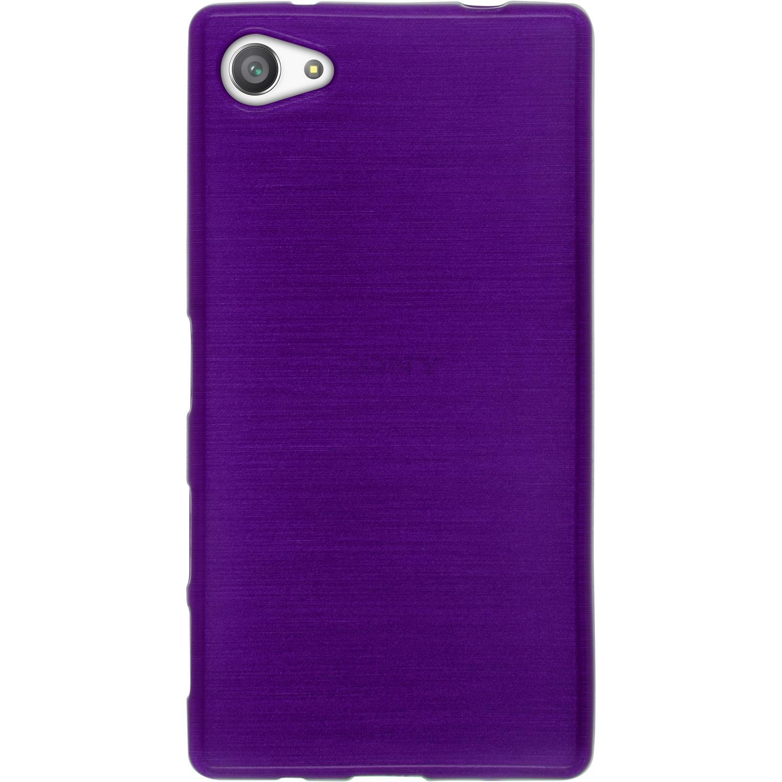 Silicone Case for Sony Xperia Z5 Compact - brushed purple - Cover PhoneNatic + protective foils by PhoneNatic (Image #3)