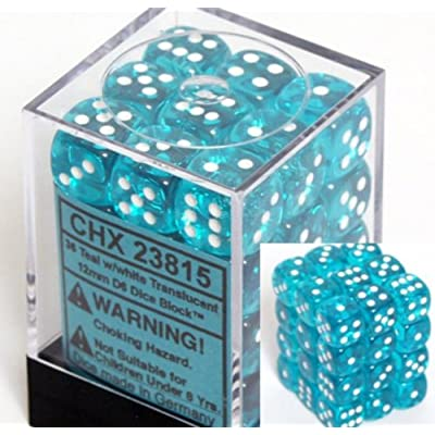 Chessex Dice D6 Sets: Teal with White Translucent - 12Mm Six Sided Die (36) Block of Dice: Toys & Games
