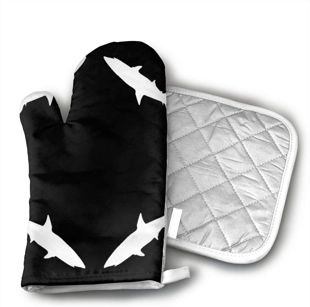 Thresher Shark, L Wallpaper 1 of Heat Resistant Oven Gloves for Cooking,Grilling,Barbecue Potholders,Oven Mitts with Polyester Fabric Printed Pattern