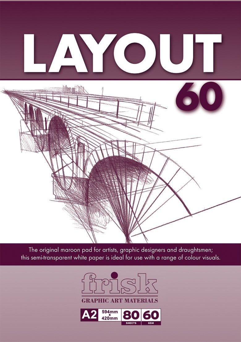 Frisk Maroon Layout - Blocco da 80 fogli bianchi, formato A2, 60 g/mq, colore: Bianco Artcoe 23116212