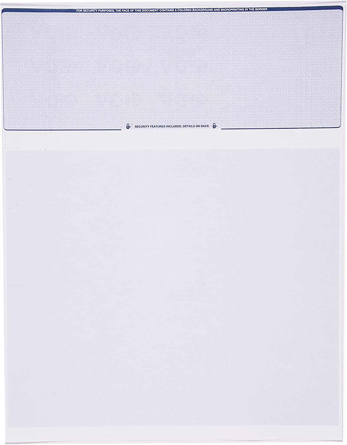 Check O Matic Computer Check Paper – Pack of 100 Blank Stock Payroll Sheets with Check on Top and Stub on Bottom – Security Features & Laser Printer Compatible for Home and Business – Blue Diamond