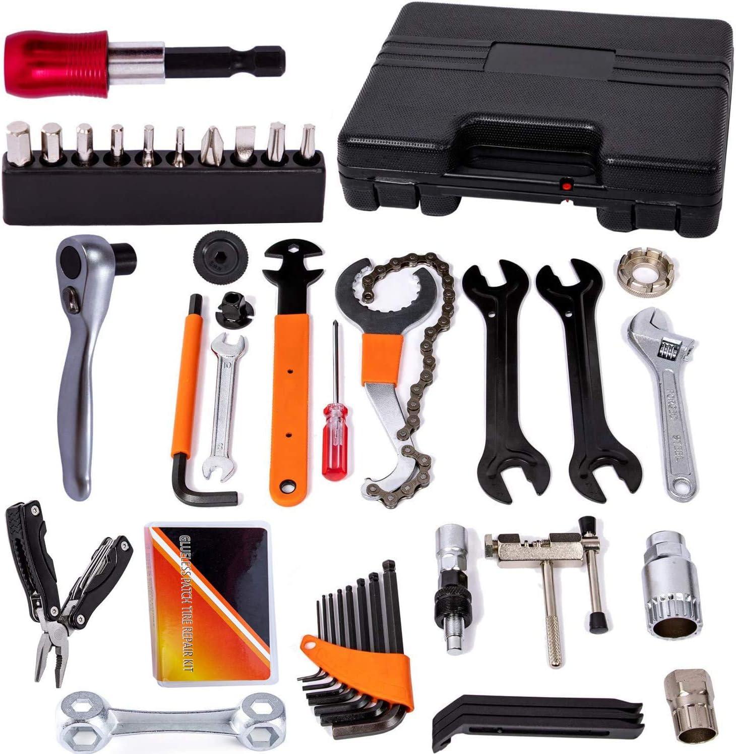 COZYROOMY Kit herramientas reparación bicicletas - Caja herramientas bicicletas con trinquete accionamiento reversible, herramienta cadena, herramienta neumáticos bicicleta, llave pedal, etc.