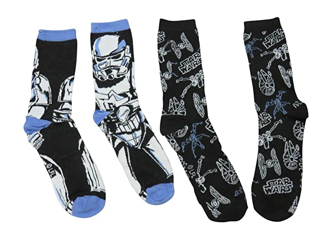 dd0d2d8b9a2 Amazon.com  Star Wars Mens Stormtrooper   Ships Casual Crew Socks 2 ...