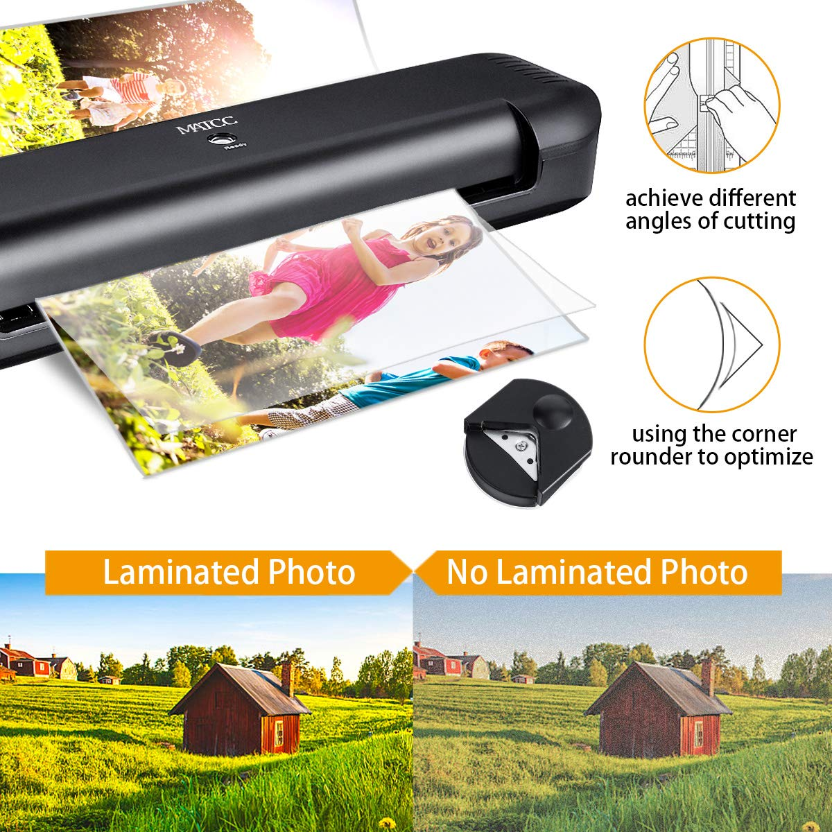 MATCC 13'' Thermal Laminator Machine for A3/A4/A6 Laminating Machine with Paper Cutter and Corner Rounder 2 Roller System Laminator Machine Faster Warm-up Quick Laminating Speed Suit for Home Art by MATCC (Image #3)