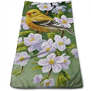 Yellow Bird Pink Flower Hand Towels Bathroom Soft Vivid Animal and Plant Bath Towel Absorbent Kitchen Dish Towel Home Decor 27.5'' X 12''