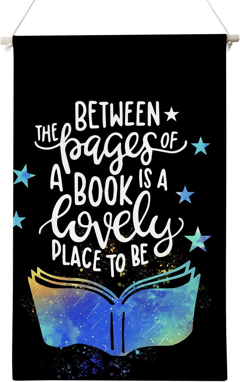 Inspirational Between The Pages of A Book is A Lovely Place to Be Poster Canvas Wall Art Gifts for Home Book Room Reading Room Decor,Literary Quotes Canvas Poster Hanger Scroll Hanging Poster Canvas Wall Art Gifts 12 x 20 Inch