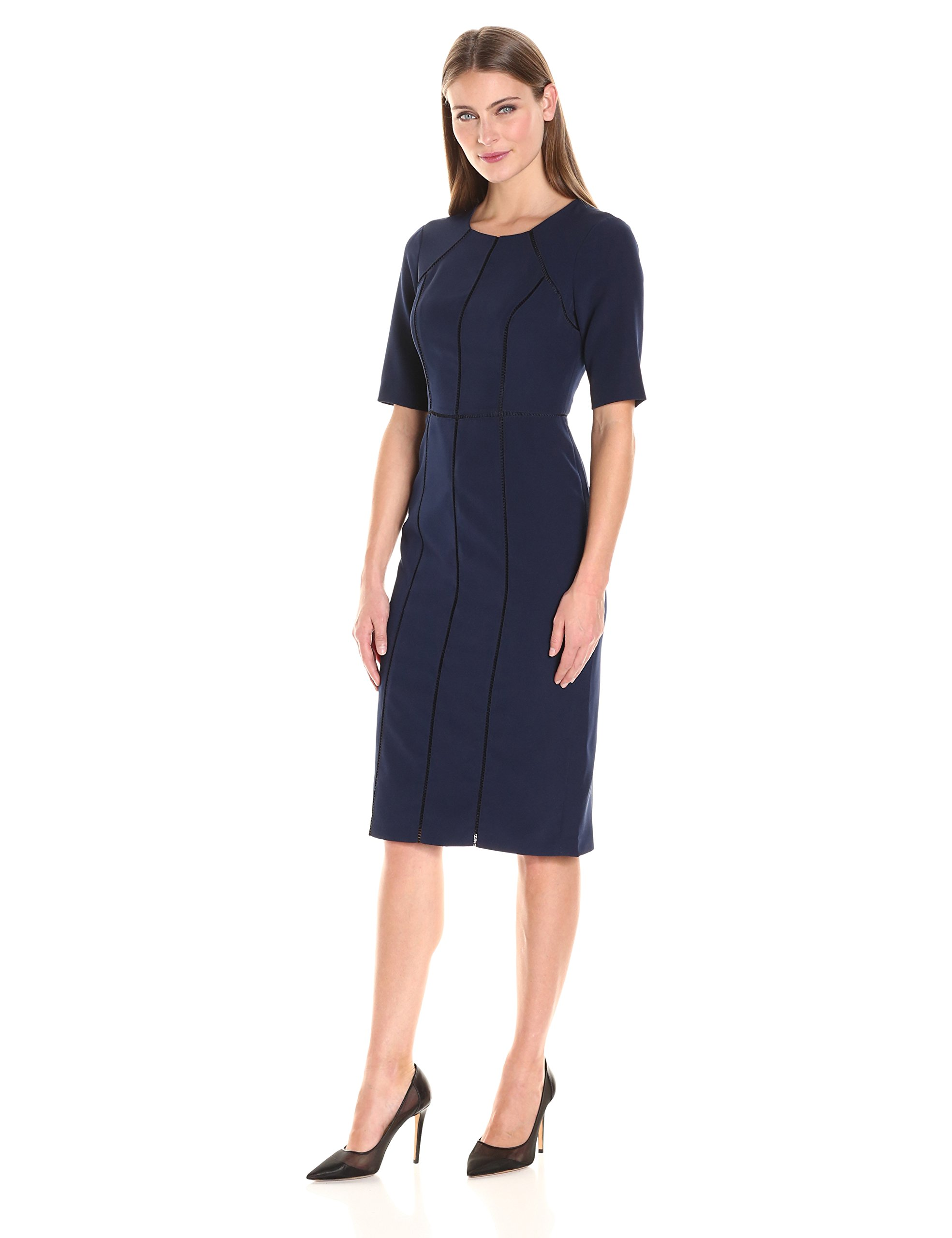 Maggy London Women's Dream Crepe Sheath with Elbow Sleeve, Patriot Blue, 8